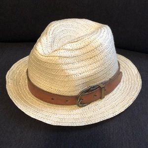 Accessories - Straw Hat with Brown Leather Buckle - Like New!